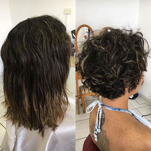 Before-and-After-Curly-Hair Very Short Curly Hairstyles for Smart Ladies
