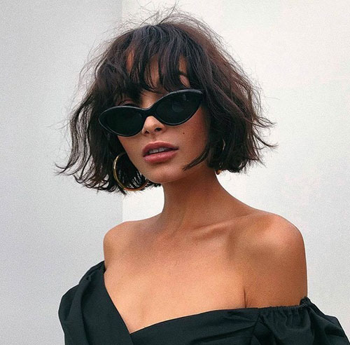 Best-Short-Wavy-Hair-with-Bangs Most Pretty Short Wavy Hair with Bangs Ideas