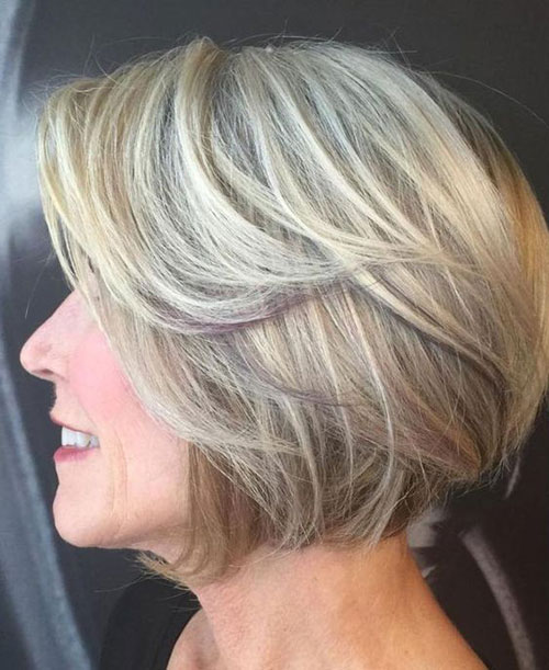 Blonde-Layered-Bob-for-Older-Women Bob Haircuts for Older Women Chic Look