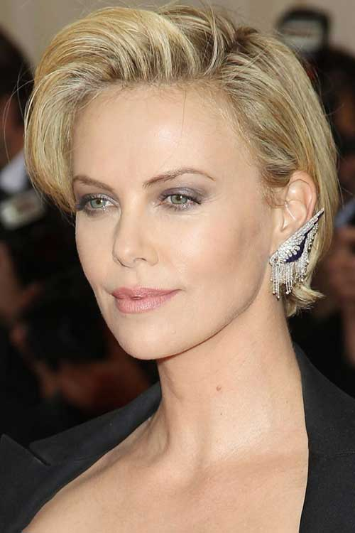 Charlize-Theron's-Short-Thick-Hairdo Female Celebrity Short Haircuts 2015