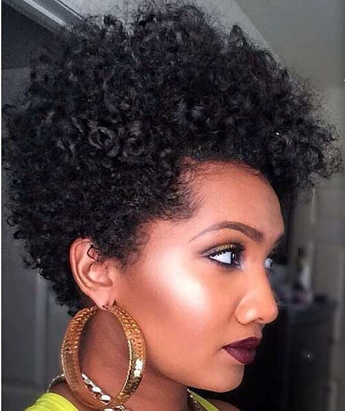 Cute-Short-Natural-Curly-Dark-Hair Cute Short Natural Hairstyles