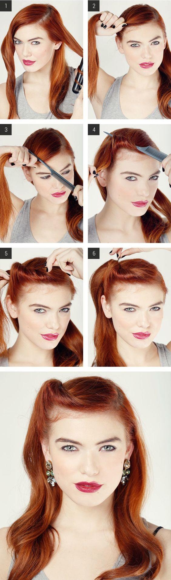 Easy-step-by-step-Retro-Hair-Tutorials Elegant Retro Hairstyles 2019 – Vintage Hairstyles for Women