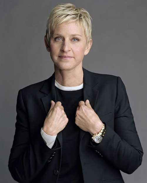 Ellen-DeGeneres's-Short-Blonde-Pixie-Hair Female Celebrity Short Haircuts 2015
