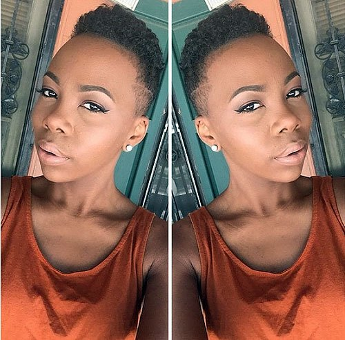 Fade-with-Lines-for-Black-Women Trendy African American Pixie Haircuts for Short Hair – Straight, Curls