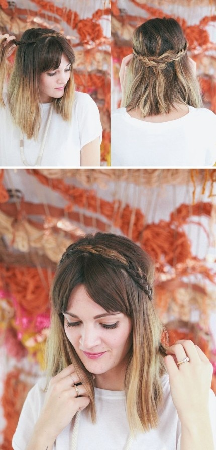 Half-Up-Braided-Headband-for-Mid-length-Hair Daily Medium Hairstyles for Women 2019