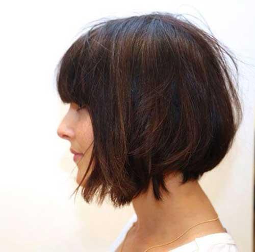 Inverted-Bob-Haircut-with-Bangs Most Beloved Short Haircuts with Bangs
