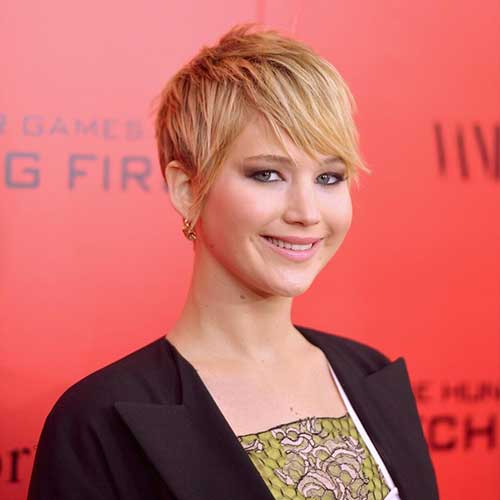 Jennifer-Lawrence's-Short-Pixie-Hairstyle Female Celebrity Short Haircuts 2015