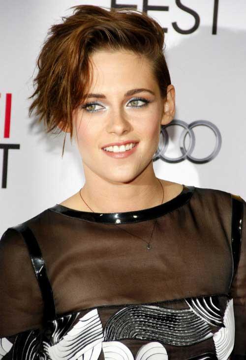 Kristen-Stewart's-Short-Messy-Hairdo Female Celebrity Short Haircuts 2015