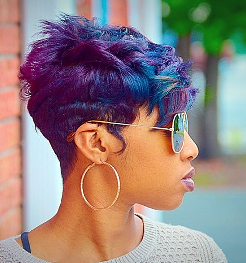 Layered-Blue-and-Purple-Pixie-Cut-with-Sunglasses Trendy African American Pixie Haircuts for Short Hair – Straight, Curls