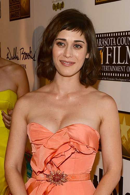 Lizzy-Caplan's-Short-Hairstyle-with-Short-Bangs Female Celebrity Short Haircuts 2015