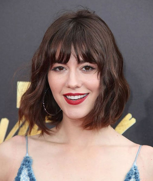 Medium-Bob-with-Bangs Most Pretty Short Wavy Hair with Bangs Ideas