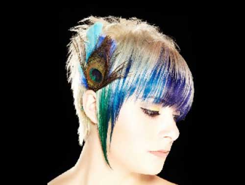 Peacock-Hair-Color-on-Short-Haircut-Style Short Hair with Color 2019