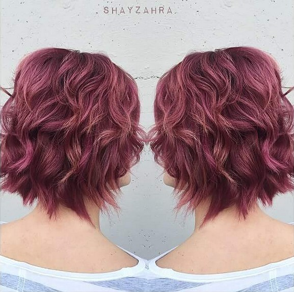 Red-Wavy-Bob-Hairstyle Beautiful Short Hairstyles for Round Faces 2019