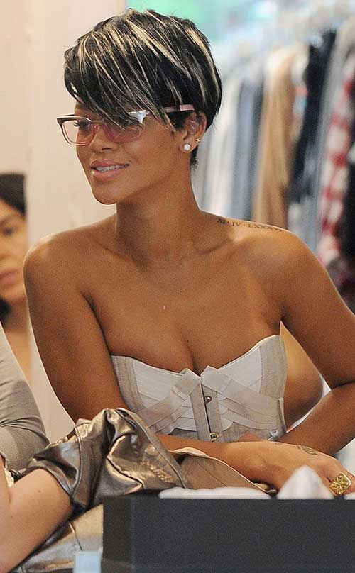Rihanna's-Funky-Short-Hairstyle Female Celebrity Short Haircuts 2015