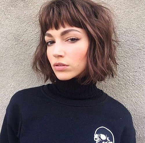 Short-Bangs Most Pretty Short Wavy Hair with Bangs Ideas