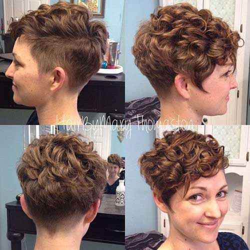 Short-Hairstyle-Curly-Side-Cut Very Short Curly Hairstyles for Smart Ladies
