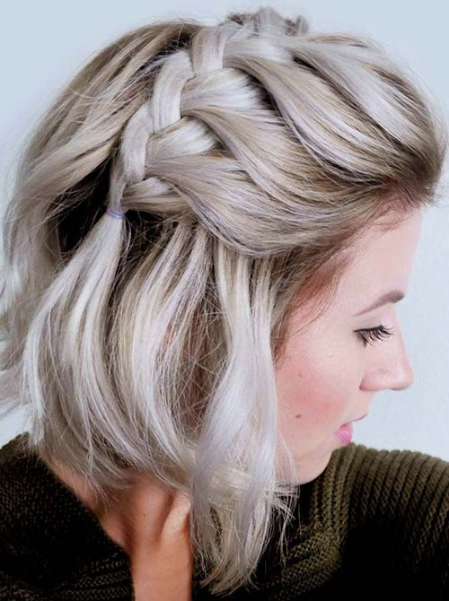 Side-French-Braid Ideas of Cute Easy Hairstyles for Short Hair