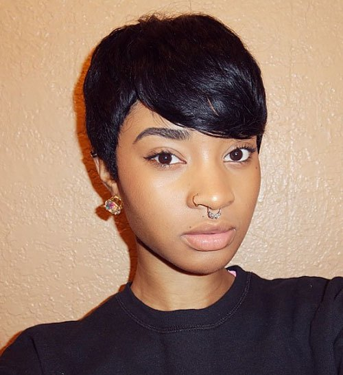 Sleek-Black-Pixie-Cut-with-Long-Side-Swept-Bangs Trendy African American Pixie Haircuts for Short Hair – Straight, Curls