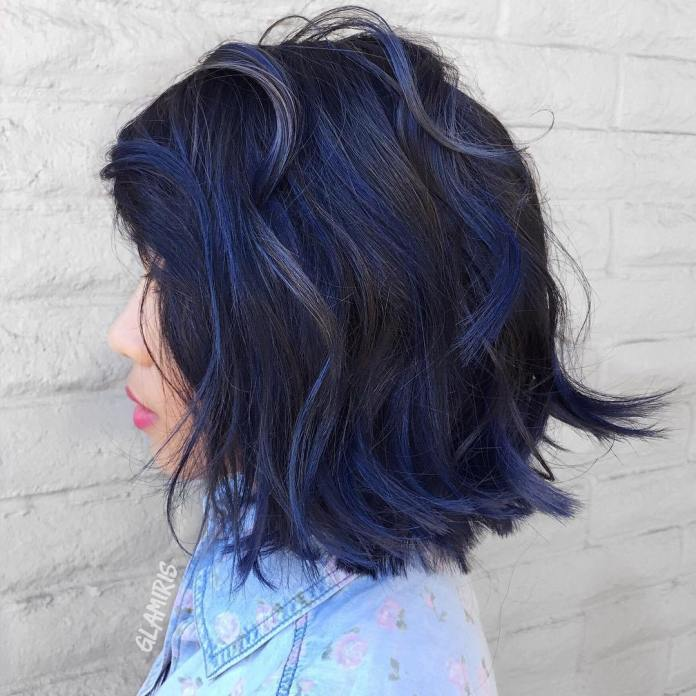 Black-Bob-Haircut-With-Blue-Balayage Stunning Hairstyles for Black Hair 2019
