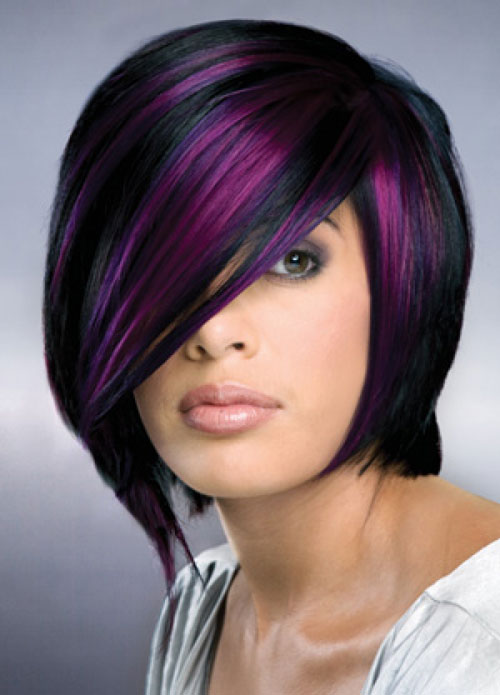 Black-and-purple-hair Best Short Hair Color Trends 2019