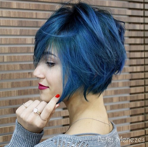 Blue-Colored-Bob-Hairstyle Modern Bob Hairstyles for 2019 – Best Bob Haircut Ideas