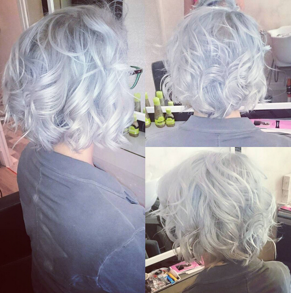 Curly-Bob-Hairstyle-for-Silver-Grey-Hair Trendiest Bob Haircuts for Women