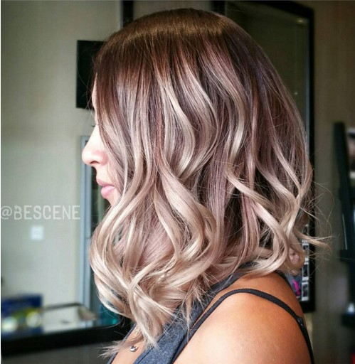 Medium-Wavy-Hairstyle-for-Ombre-Hair Flattering Medium Hairstyles for 2019