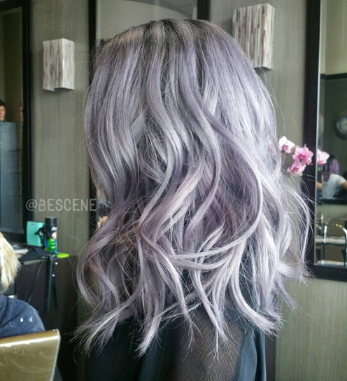 Medium-Wavy-Hairstyle-for-Purple-Hair Flattering Medium Hairstyles for 2019