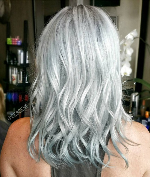 Medium-Wavy-Hairstyle-for-Silver-Grey-Hair Flattering Medium Hairstyles for 2019