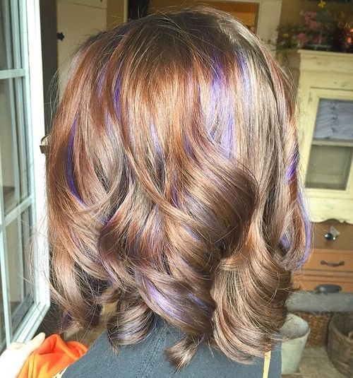 Purple-Highlights-for-Curly-Bob Awsome Highlighted Hairstyles for Women – Hair Color Ideas