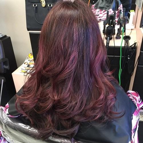 Purple-and-Mahogany-Curls Trendy Mahogany Hair Color Ideas