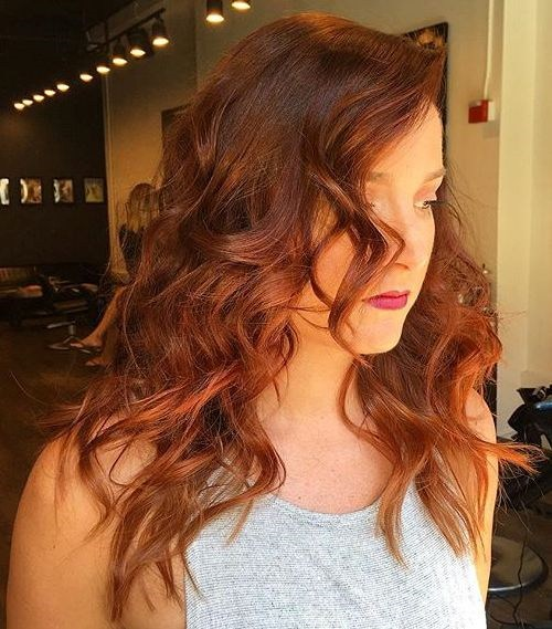 Red-and-Brown-Mid-length-Curls New Hairstyles and Hair Color Ideas for Fall