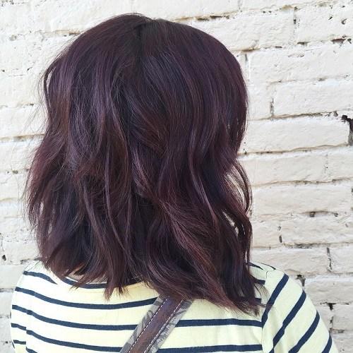 Wavy-Lob Trendy Mahogany Hair Color Ideas
