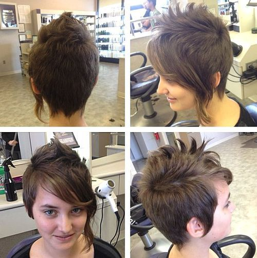 Asymmetrical-Pixie Faux Hawk Hairstyle for Women – Trendy Female Fauxhawk Hair Ideas