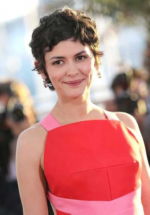 Audrey-Tautou's-Short-Curly-Hairstyle Celebrity Short Curly Hairstyles
