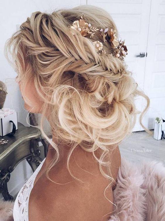 Braided-Loose-Bun Wedding Hair Ideas for Spring