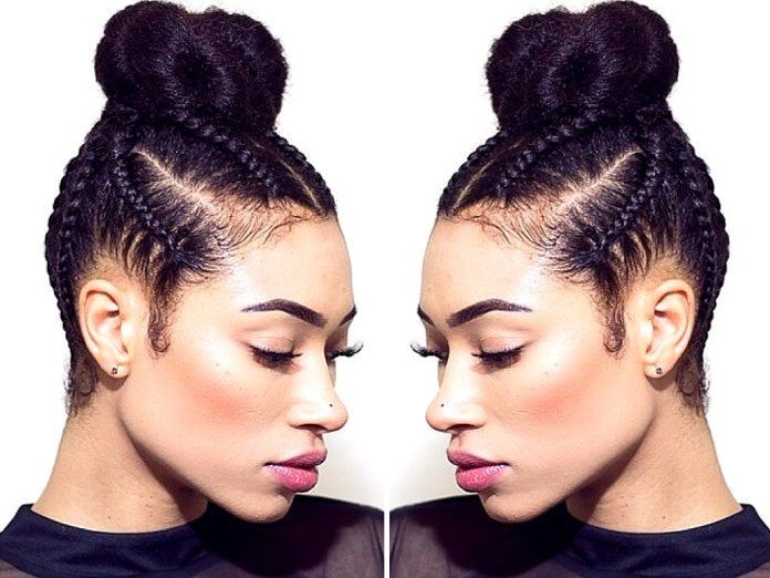 Cornrows-with-the-Top-Bun Cool and Cute Summer Hairstyles for Women