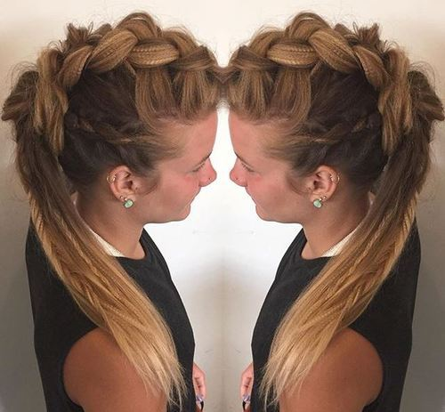 Crimped-Braids-–-Fauxhawk-Hairstyle-for-female Faux Hawk Hairstyle for Women – Trendy Female Fauxhawk Hair Ideas
