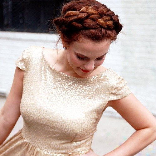 Crown-Braid-without-Bangs Best Milkmaid Hairstyles – Pretty Milkmaid Braid for Women