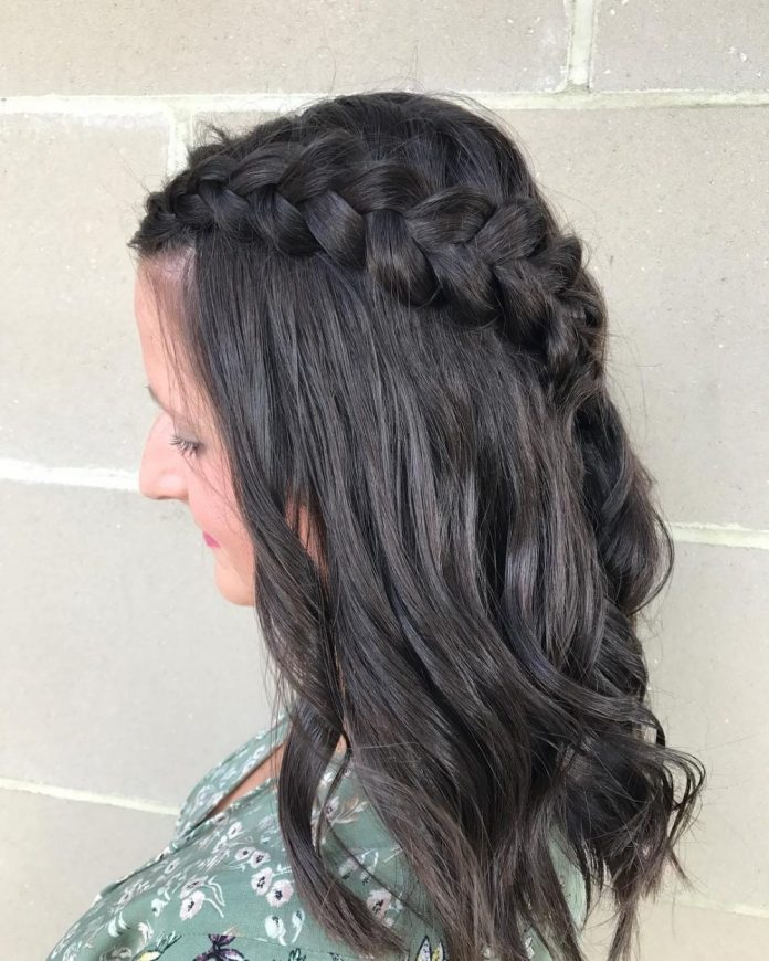 Diagonally-Plaited-Crown Top Trending Medium Hairstyles for Girls