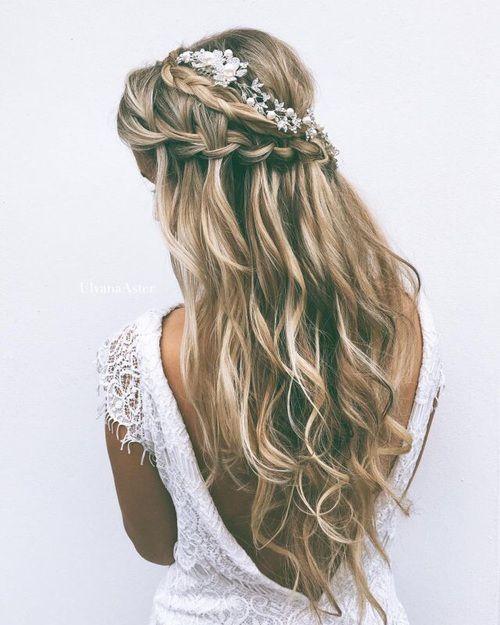 Double-Braided-Half-up-Half-down Wedding Hair Ideas for Spring