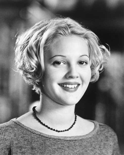 Drew-Barrymore's-Blonde-Curly-Short-Hairstyle Celebrity Short Curly Hairstyles