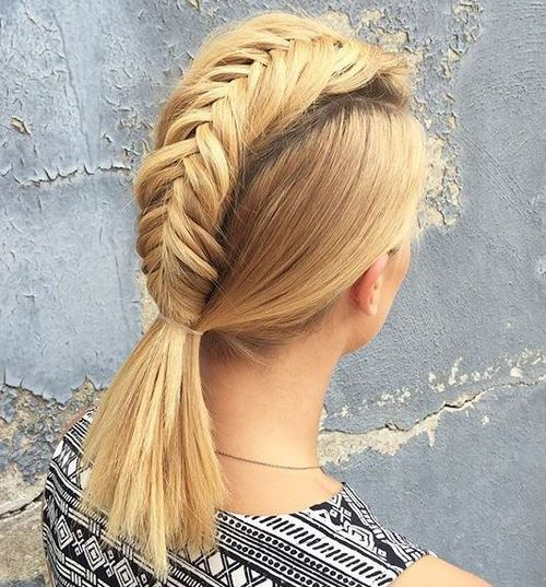 Fishtail-Braid-Ponytail-–-Fauxhawk-inspired-Hairstyle-for-Women Faux Hawk Hairstyle for Women – Trendy Female Fauxhawk Hair Ideas