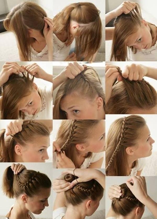 French-Braid-Crowned-Bun Simple Medium Hairstyles for Stunning Look