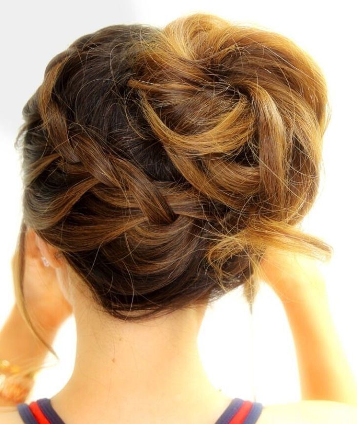 French-Plaited-Bun Simple Medium Hairstyles for Stunning Look