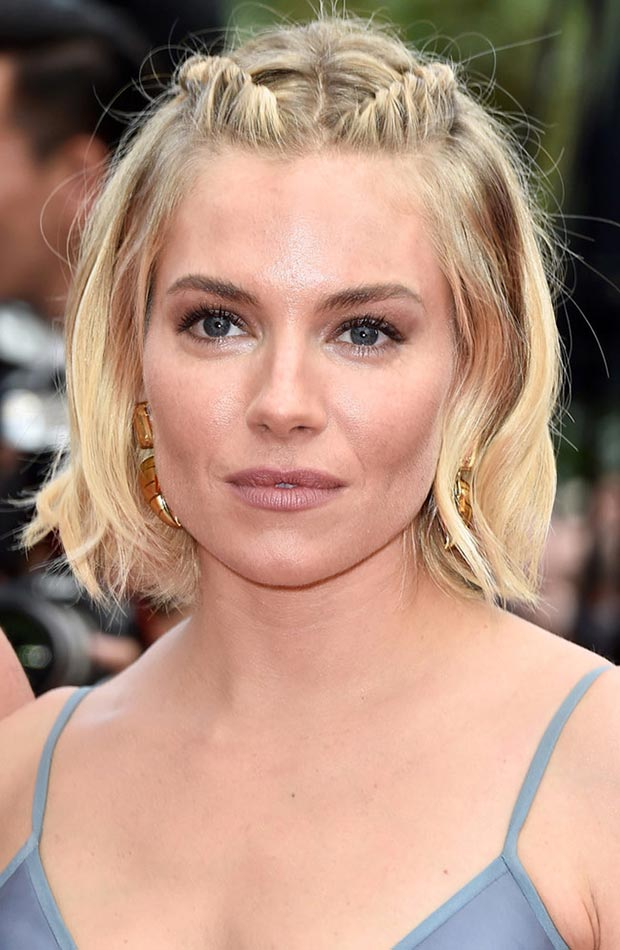 Front-Temple-Braids-in-Small-Bob-Hair Classy and Charming Hairstyles for Wedding Guest