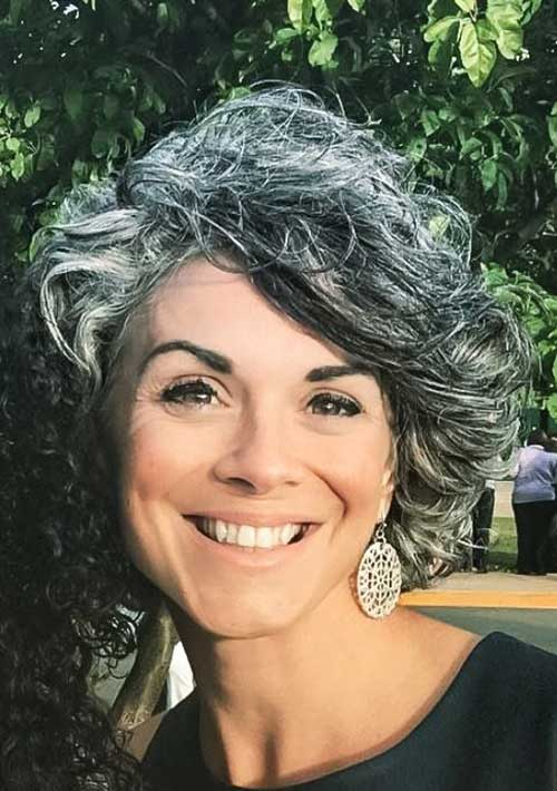 Grey-Streaked-Short-Curly-Haircut Gorgeous Short Hairstyles for Women Over 50