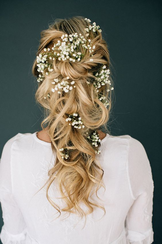 Half-up-Half-down-with-Flowers Wedding Hair Ideas for Spring