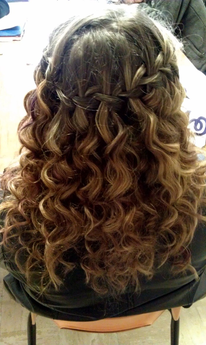 Highlighted-Waterfall-Braid-Hairstyle Worth Trying Curly Hairstyles with Braids