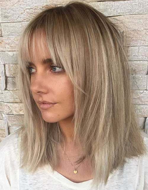 Layered-Hair-with-Bangs Latest Short to Medium Hairstyles